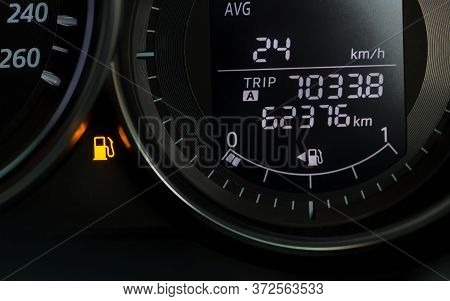 Empty Fuel Warning Light In Car Dashboard. Fuel Pump Icon. Gasoline Gauge Dash Board In Car With Dig