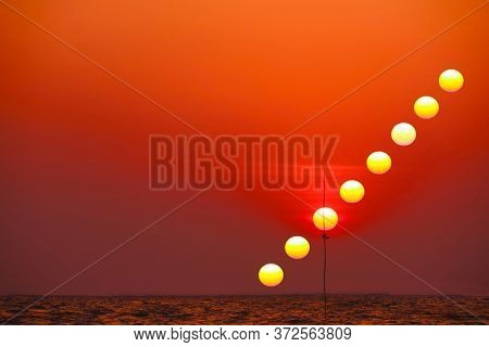 Incredible Light Red Orange Yellow Sky Sunset Silhouette Flag In The Ocean