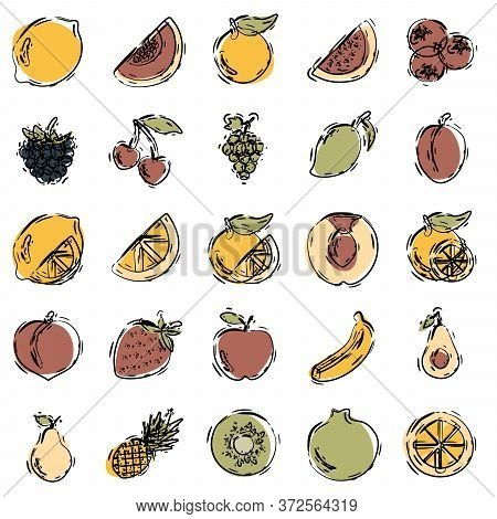Fruits Icons Set. Hand Drawing. Line Art. Fruits Icons Art. Fruits Icons Web. Fruits Icons New. Frui