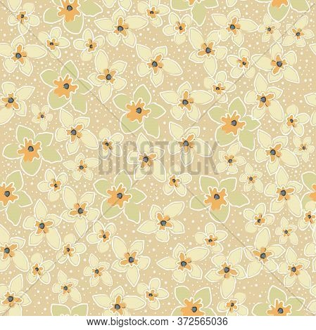 Seamless Pattern With Cute Flowers. Hand Drawn Scandinavian Style. Vector Illustration