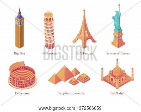 Architectural Tourist Attractions Isometric. Old Historical Monuments