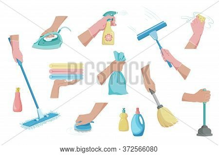 Cleaning. Hands Holding Cleaning Tools. Housekeeping, Disinfection And Cleaning Service. Window Clea