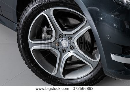 Novosibirsk/ Russia - April 28 2020: Mercedes Benz Glk-class, Car Wheel With Alloy Wheel And New Rub