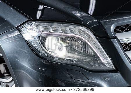 Novosibirsk/ Russia - April 28 2020: Mercedes Benz Glk-class, Gray Car Headlights. Exterior Detail.
