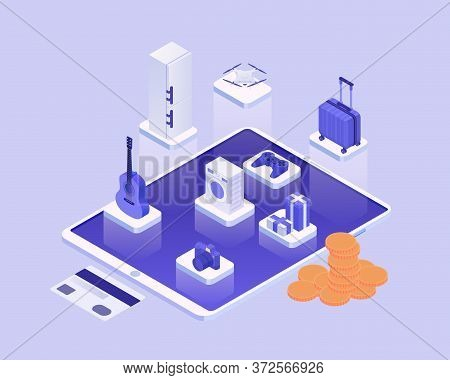 Shopping Online Isometric Concept. Online Purchase Everything