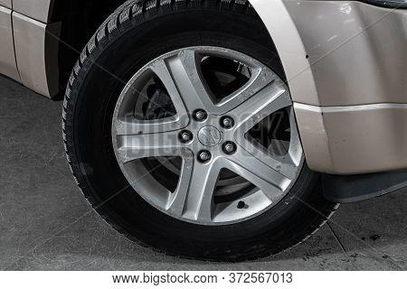 Novosibirsk/ Russia - April 28 2020: Suzuki Grand Vitara, Car Wheel With Alloy Wheel And New Rubber