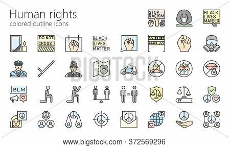Human Rights, Blm Colored Outline Icon Set