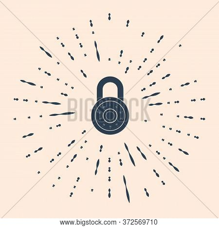 Black Safe Combination Lock Wheel Icon Isolated On Beige Background. Combination Padlock. Protection