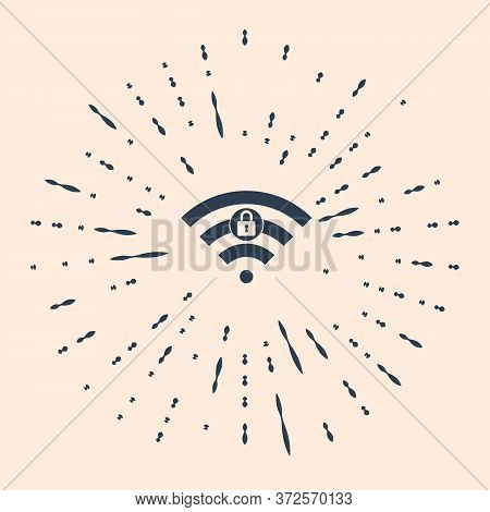 Black Wifi Locked Sign Icon Isolated On Beige Background. Password Wi-fi Symbol. Wireless Network Ic
