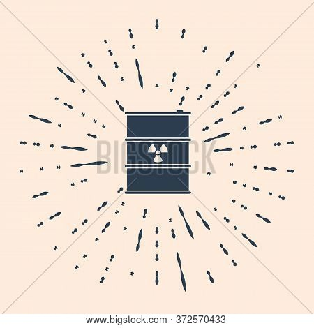 Black Radioactive Waste In Barrel Icon On Beige Background. Radioactive Garbage Emissions, Environme