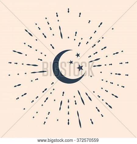 Black Moon And Stars Icon Isolated On Beige Background. Abstract Circle Random Dots. Vector Illustra