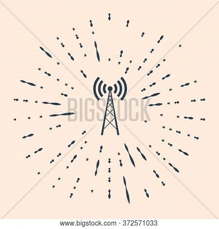 Black Antenna Icon Isolated On Beige Background. Radio Antenna Wireless. Technology And Network Sign