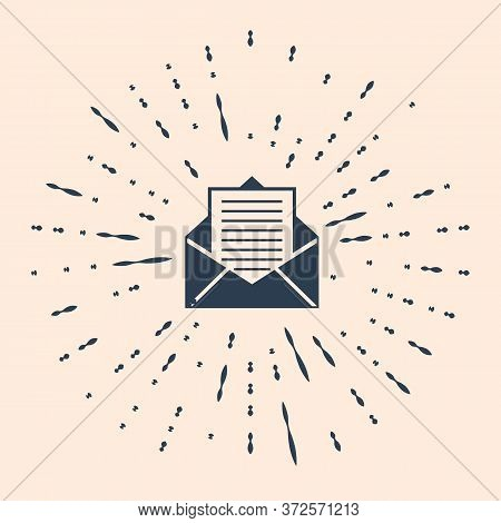 Black Mail And E-mail Icon Isolated On Beige Background. Envelope Symbol E-mail. Email Message Sign.