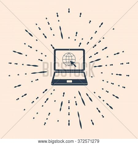 Black Website On Laptop Screen Icon Isolated On Beige Background. Laptop With Globe And Cursor. Worl