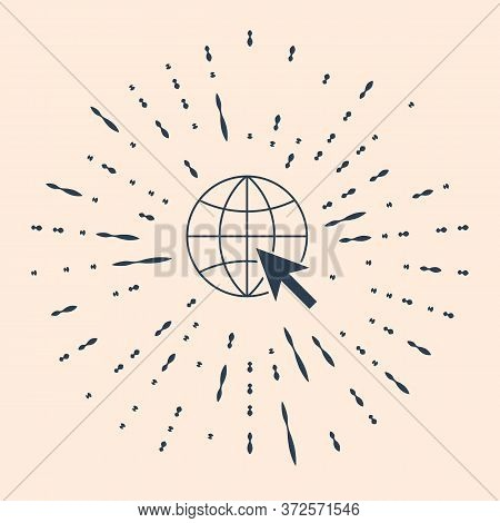 Black Go To Web Icon Isolated On Beige Background. Globe And Cursor. Website Pictogram. World Wide W