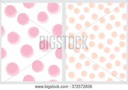Cute Hand Drawn Abstract Irregular Polka Dots Vector Pattern Set. Pink And Salmon Pink Brush Dots Is