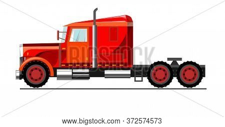 Car Truck. Vector. Cartoon. Flat. Large Truck For Transporting Goods. Freight Transportation Auto Tr