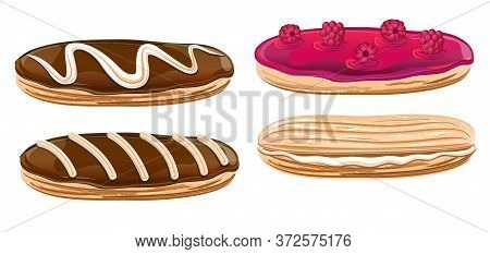 Eclairs With Jam And Berries, And Chocolate. Yummy.