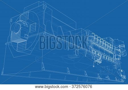 Diesel Generator Unit For Factory. The Layers Of Visible And Invisible Lines Are Separated. Wire-fra