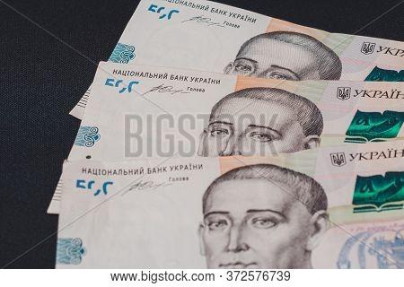500 Ukrainian Hryvnia On A Black Background. Ukrainian Currency With Hryhoriy Skovoroda.