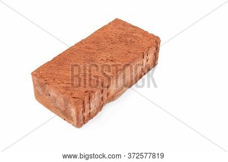 One Single Red Brick Isolated On White Background, The Red Brick Symbol Of Construction. Object Isol