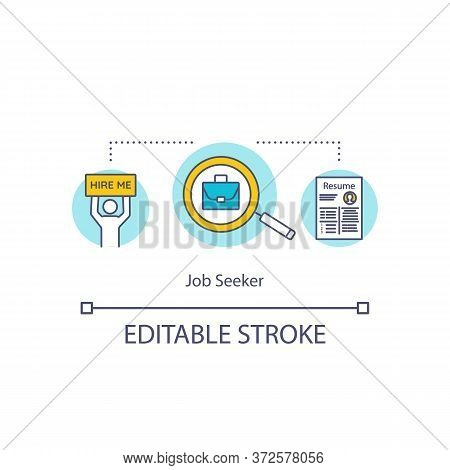 Job Seeker Concept Icon. Employee For Recruitment. Hire With Resume. Applicant For Work Position Ide