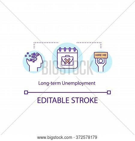 Long Term Unemployment Concept Icon. Social Issue With Lack Of Work. Labor Force Trouble. Jobless Pe
