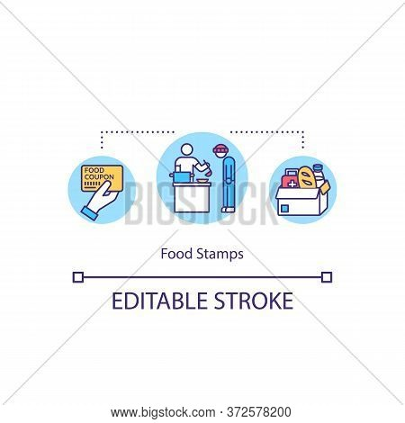 Food Stamps Concept Icon. Dinner For Hungry Jobless People. Food Donation. Provide Humanitarian Help