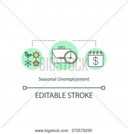 Seasonal Unemployment Concept Icon. Struggle To Find Work. Jobless For Short Period. Temporary Absen