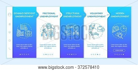 Joblessness Types Onboarding Vector Template. Frictional, Structural, Voluntary And Hidden Unemploym