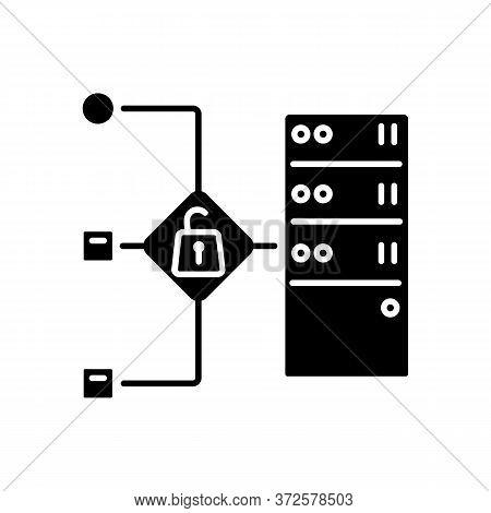 Open Proxy Black Glyph Icon. Public Vps Service, Internet Accessibility, Virtual Network Silhouette