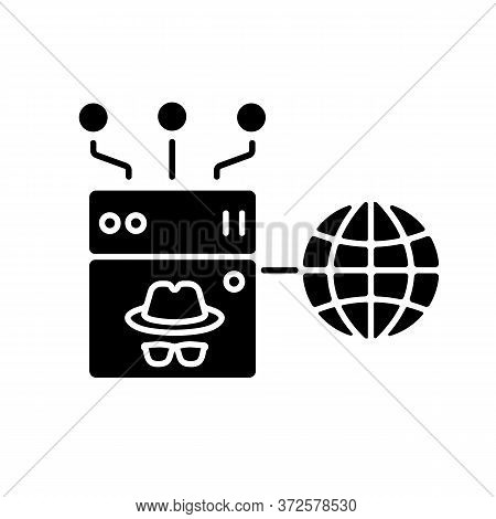Anonymous Proxy Black Glyph Icon. Internet Security And Anonymity Silhouette Symbol On White Space.