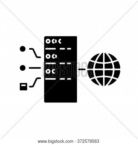 Transparent Proxy Black Glyph Icon. Intercepting, Inline Or Forced Vps. Gateway Internet Connection