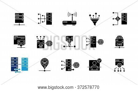Proxy Server Black Glyph Icons Set On White Space. Internet Data Access, Virtual Connection, Cyberse