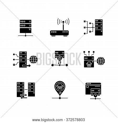 Virtual Proxy Servers Black Glyph Icons Set On White Space. Vpn Services, Internet Routing Technolog
