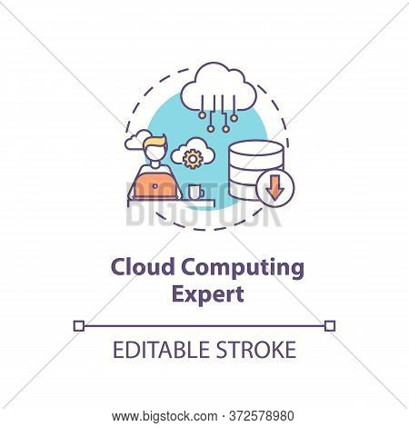 Cloud Computing Expert Concept Icon. Database Management. It Professional. Information Processing Sp