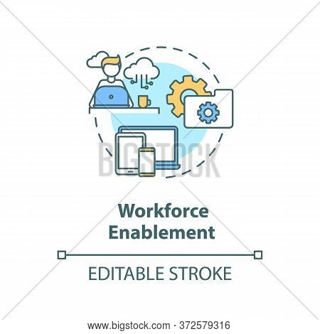 Workforce Enablement Concept Icon. Digital Workspace For It Department Employee. Improve Customer Sa