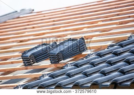Black Roof Of Burnt Tiles Reconstruction For The Old House, Building Concept