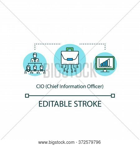 Chief Information Officer Concept Icon. C Level Executive Of It Company. Businessman To Lead Team. C