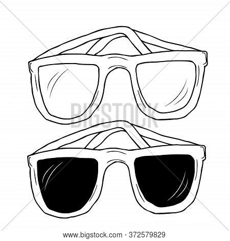 Vector Set Of Sunglasses Hand Drawn Doodle Style. Fashion Vintage Elements Hand-drawn Collection. Re