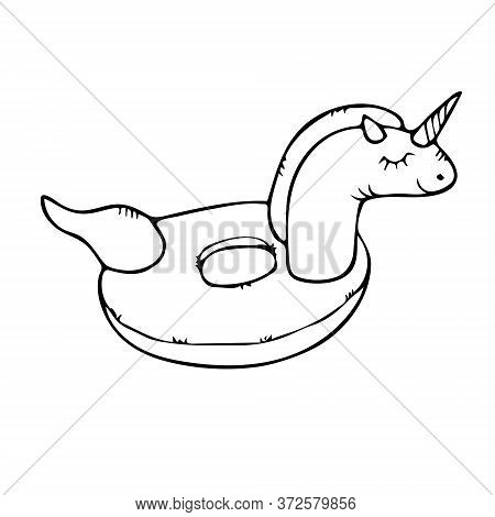 Hand Drawn Doodle Sketch Vector Floating Unicorn Float Ring Isolated On White Background. Design For