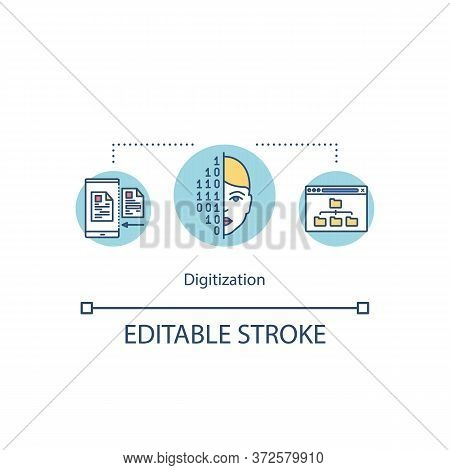 Digitization Concept Icon. Information Conversion Into Bits And Bytes. Technology Innovation Idea Th