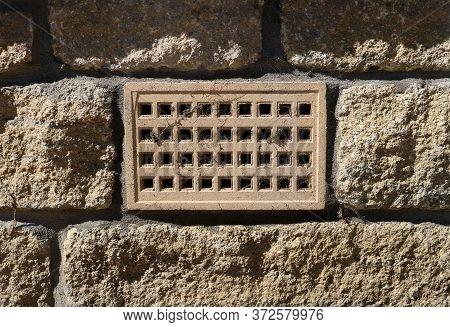 Ventilation Air Vent In A Blockwork House Wall