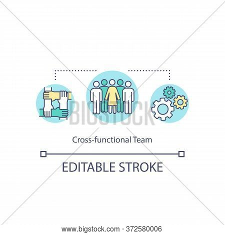 Cross Functional Team Concept Icon. Various Employee, Different Business Operation. Team For Company