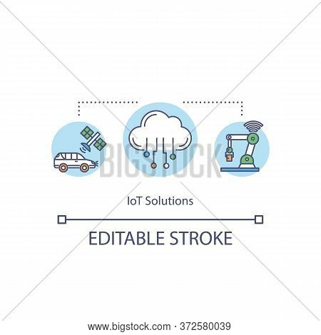 Iot Solutions Concept Icon. Worldwide Networking. Automation And Control Of Devices. Global Wireless
