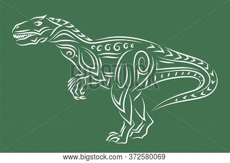 Beautiful Hand Drawn Linear Tribal Illustration With White Raptor Silhouette Isolated On The Green B