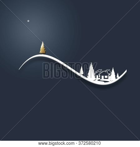 Beautiful Stylish Minimalist Christmas Winter Night Landscape With Snow, Houses, Star, Pine Fir And