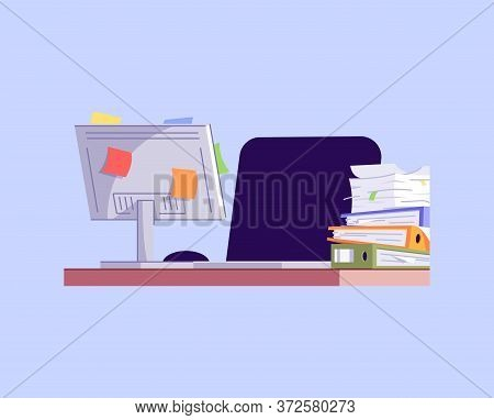 Messy Workplace Semi Flat Rgb Color Vector Illustration. Workaholism Problem, Overworking Issue. Uno