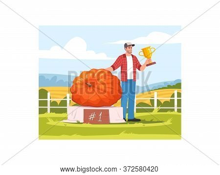 Local Harvest Festival Competition Semi Flat Vector Illustration. First Place Ripe Pumpkin, Male Win