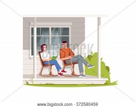 Couple Sit In Armchairs On Patio Semi Flat Rgb Color Vector Illustration. Rural Lifestyle, Summer Re